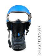 Купить «snowboard equipment - boot, helmet and ski goggles», фото № 11375997, снято 25 апреля 2019 г. (c) PantherMedia / Фотобанк Лори