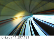 Купить «Fast moving train trail in tunnel», фото № 11397181, снято 19 июня 2019 г. (c) PantherMedia / Фотобанк Лори