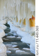 Купить «Winter scenery. Baltic Sea. Close up ice formations icicles on pier poles», фото № 11449069, снято 22 марта 2019 г. (c) PantherMedia / Фотобанк Лори