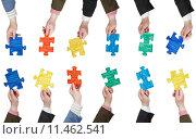 Купить «male hands with painted puzzle pieces», фото № 11462541, снято 7 апреля 2020 г. (c) PantherMedia / Фотобанк Лори