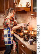 Купить «housewife cooking soup in saucepan», фото № 11484501, снято 23 января 2018 г. (c) PantherMedia / Фотобанк Лори