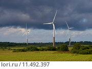 Купить «Три ветряных электрогенератора на фоне пасмурного неба. Эстония», фото № 11492397, снято 31 июля 2015 г. (c) Виктор Карасев / Фотобанк Лори