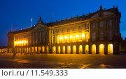 The Rajoy Palace (Palacio de Rajoy) in night. Santiago de Compostela. Стоковое фото, фотограф Яков Филимонов / Фотобанк Лори