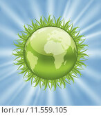 Купить «Icon earth with grass, environment symbol», иллюстрация № 11559105 (c) PantherMedia / Фотобанк Лори