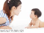 Купить «Happy  mother talking with  baby boy», фото № 11561121, снято 22 февраля 2019 г. (c) PantherMedia / Фотобанк Лори