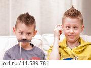 Купить «funny face boys and mustaches», фото № 11589781, снято 16 августа 2018 г. (c) PantherMedia / Фотобанк Лори