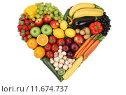 Купить «fruits and vegetables as the centerpiece topic of love and healthy nutrition», фото № 11674737, снято 26 мая 2018 г. (c) PantherMedia / Фотобанк Лори
