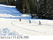 skiing tracks in Portes du Soleil area, France. Стоковое фото, фотограф Valery Vvoennyy / PantherMedia / Фотобанк Лори