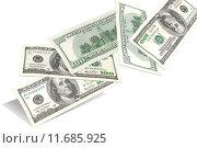 Банкноты 100 долларов на белом фоне. Стоковое фото, фотограф Денис Приходько-Муханов / Фотобанк Лори