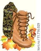 Купить «boot traveling on autumn leves», иллюстрация № 11716029 (c) PantherMedia / Фотобанк Лори