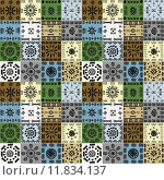 Купить «Tribal ethnic symbols background, seamless pattern», иллюстрация № 11834137 (c) PantherMedia / Фотобанк Лори