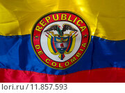 Купить «Waving Fabric Flag of Colombia», фото № 11857593, снято 22 июля 2019 г. (c) PantherMedia / Фотобанк Лори