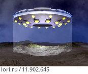 Купить «UFO landing - 3D render», фото № 11902645, снято 19 сентября 2018 г. (c) PantherMedia / Фотобанк Лори