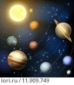 Купить «Solar system planets illustration», иллюстрация № 11909749 (c) PantherMedia / Фотобанк Лори