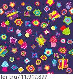 Купить «Childish background with flowers butterflies and mushrooms», иллюстрация № 11917877 (c) PantherMedia / Фотобанк Лори