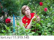 Купить «Женщина ухаживает за цветами в саду», фото № 11919145, снято 28 августа 2015 г. (c) Наталья Осипова / Фотобанк Лори