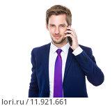 Купить «Businessman talk to cell phone», фото № 11921661, снято 17 января 2020 г. (c) PantherMedia / Фотобанк Лори