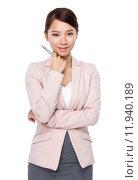 Купить «Businesswoman think of idea», фото № 11940189, снято 7 августа 2020 г. (c) PantherMedia / Фотобанк Лори