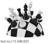 Купить «spherical chess board with some pieces (3d render)», фото № 11945021, снято 22 мая 2018 г. (c) PantherMedia / Фотобанк Лори