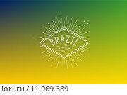 Купить «Brazil 2014 vintage label blurred background», иллюстрация № 11969389 (c) PantherMedia / Фотобанк Лори