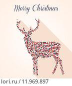 Купить «Merry Christmas geometric reindeer postcard», иллюстрация № 11969897 (c) PantherMedia / Фотобанк Лори