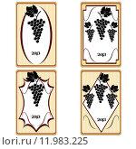 Купить «Vintage labels with grapes, advertisement for wine», иллюстрация № 11983225 (c) PantherMedia / Фотобанк Лори