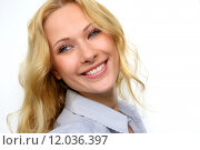Купить «Portrait of charming blond woman on white background», фото № 12036397, снято 31 мая 2020 г. (c) PantherMedia / Фотобанк Лори