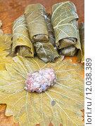 Купить «preparation dolma from grape leaves, mince, rice», фото № 12038389, снято 23 июля 2019 г. (c) PantherMedia / Фотобанк Лори