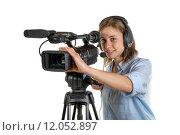 Купить «young woman with a video camera», фото № 12052897, снято 20 ноября 2018 г. (c) PantherMedia / Фотобанк Лори