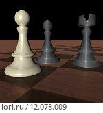 Купить «Three pieces of chess over wooden chessboard, 3d render», фото № 12078009, снято 21 сентября 2019 г. (c) PantherMedia / Фотобанк Лори