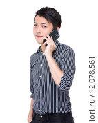Купить «Businessman talk to cellphone», фото № 12078561, снято 17 января 2020 г. (c) PantherMedia / Фотобанк Лори