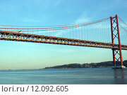 Купить «25th April Bridge, Lisbon, Portugal», фото № 12092605, снято 18 июня 2019 г. (c) PantherMedia / Фотобанк Лори