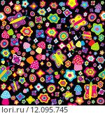 Купить «Childish background with flowers butterflies and mushrooms», иллюстрация № 12095745 (c) PantherMedia / Фотобанк Лори