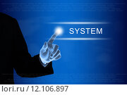 Купить «business hand clicking system button on touch screen», фото № 12106897, снято 19 сентября 2019 г. (c) PantherMedia / Фотобанк Лори