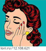 Купить «pop art cute retro woman in comics style», иллюстрация № 12108621 (c) PantherMedia / Фотобанк Лори