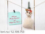 Купить «Snowman clothespin holding sack and Christmas greeting note», фото № 12109753, снято 22 июля 2019 г. (c) PantherMedia / Фотобанк Лори