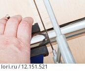 Купить «worker saws trap pipe gripped in vice close up», фото № 12151521, снято 16 июля 2019 г. (c) PantherMedia / Фотобанк Лори