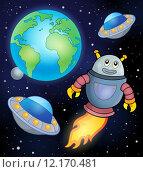 Купить «Space theme with flying robot», иллюстрация № 12170481 (c) PantherMedia / Фотобанк Лори