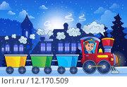 Купить «Winter town with train», иллюстрация № 12170509 (c) PantherMedia / Фотобанк Лори