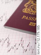 Купить «UK Passport On ECG Printout To Illustrate Risk Of Catching Illness Overseas», фото № 12179185, снято 21 октября 2018 г. (c) PantherMedia / Фотобанк Лори