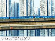 Купить «sky train and track system in a modern neighborhood», фото № 12183513, снято 18 июня 2019 г. (c) PantherMedia / Фотобанк Лори