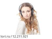 Купить «Woman in call center with phone headset», фото № 12211921, снято 16 февраля 2019 г. (c) PantherMedia / Фотобанк Лори