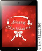 Купить «tablet similar ipad merry chirstmas screen», иллюстрация № 12223397 (c) PantherMedia / Фотобанк Лори