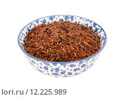 Купить «Camargue red rice in a blue and white china bowl», фото № 12225989, снято 22 июля 2019 г. (c) PantherMedia / Фотобанк Лори