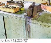 Купить «vice and details on workbench», фото № 12226721, снято 16 июля 2019 г. (c) PantherMedia / Фотобанк Лори