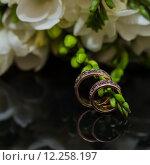 Купить «Two wedding rings in infinity sign. Love concept.», фото № 12258197, снято 22 апреля 2018 г. (c) PantherMedia / Фотобанк Лори