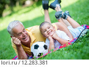 Купить «grandfather and child have fun  in park», фото № 12283381, снято 19 сентября 2019 г. (c) PantherMedia / Фотобанк Лори