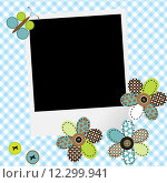Купить «Scrapbook baby boy design with photo frame and patcwork flowers», иллюстрация № 12299941 (c) PantherMedia / Фотобанк Лори