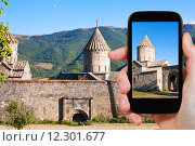 Купить «tourist photographs of Tatev Monastery in Armenia», фото № 12301677, снято 21 октября 2018 г. (c) PantherMedia / Фотобанк Лори