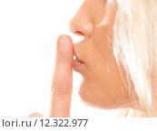 Купить «Woman asking for silence finger on lips hush gesture.», фото № 12322977, снято 4 апреля 2020 г. (c) PantherMedia / Фотобанк Лори